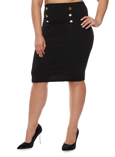 Plus Size Sailor Pencil Skirt,BLACK,large
