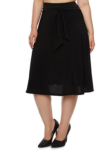 Plus Size A-Line Midi Skirt With Sash Belt,BLACK,large