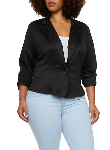 Plus Size Knit Blazer with Ruched Sleeves,BLACK,large