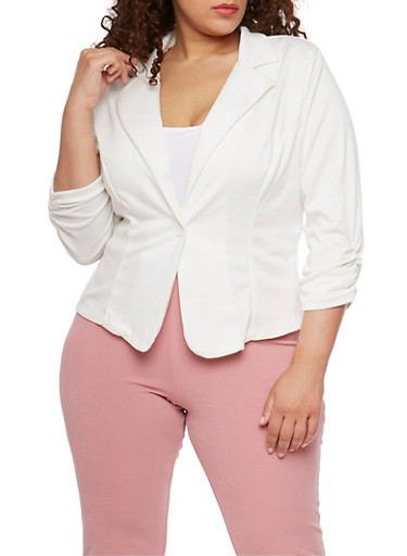 Plus Size Ponte Knit Blazer with Ruched Sleeves,IVORY,large