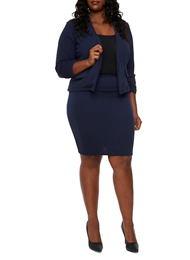 Plus Size Blazer with Ruched Sleeves and Open Front,NAVY,large