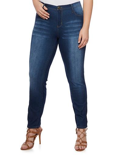 Plus Size Stretch Knit Jeans,DARK WASH,large