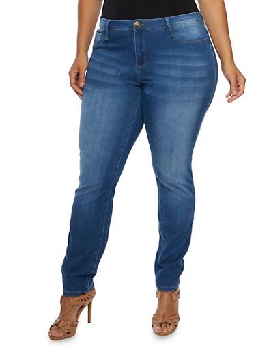 Plus Size Stretch Jeans,MEDIUM WASH,large