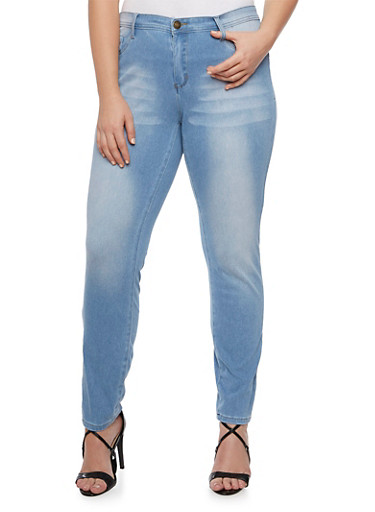 Plus Size Faded Skinny Jeans,LIGHT WASH,large