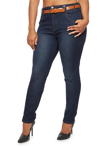Plus Size 3 Button Jeans with Perforated Belt,DENIM,large