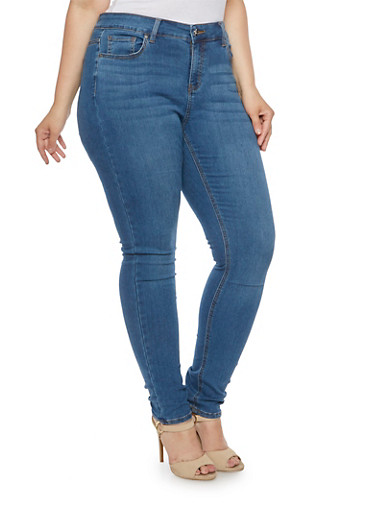 Plus Size Wax Jeans with Classic Five Pocket Design,MEDIUM WASH,large