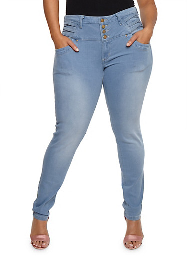 Plus Size 4 Button Criss Cross Jeans,LIGHT WASH,large