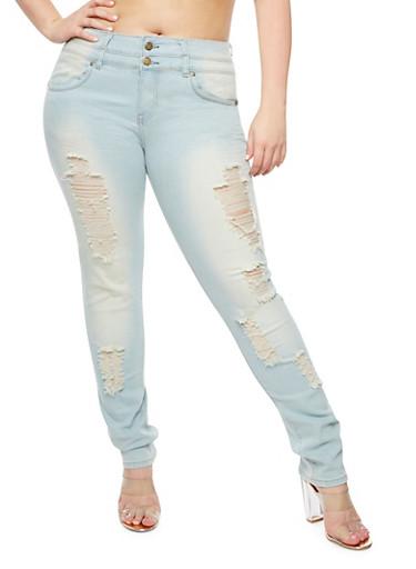 Plus Size Destroyed Bleach Wash Jeans,LIGHT WASH,large