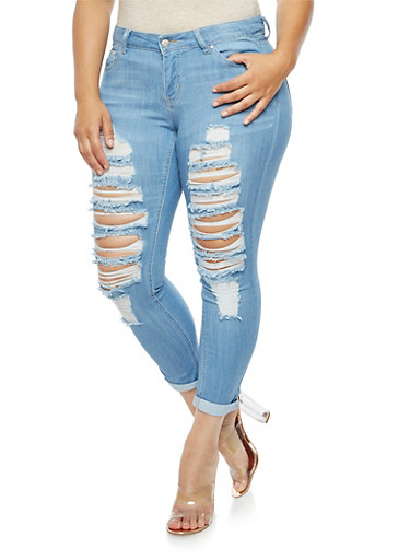 Plus Size WAX Destroyed Jeans,LIGHT WASH,large