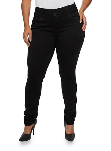 Plus Size WAX Skinny Jeans with Three Buttons,BLACK,large