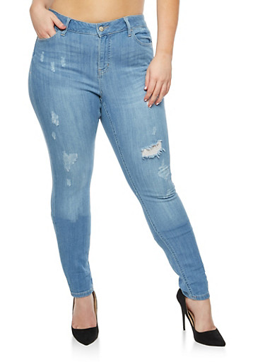 Plus Size WAX Frayed Pocket Stitched Jeans,LIGHT WASH,large