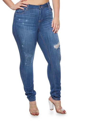 Plus Size WAX Frayed Pocket Stitched Jeans,MEDIUM WASH,large