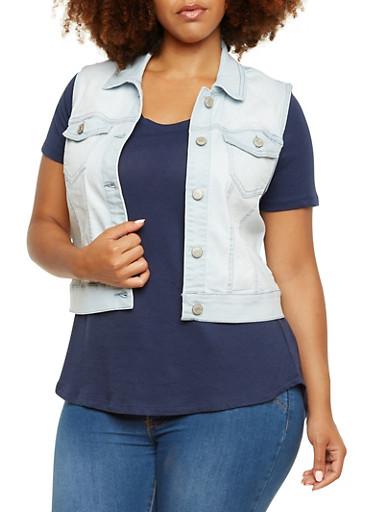 Plus Size Wax Jeans Stretch Denim Vest,LIGHT WASH,large