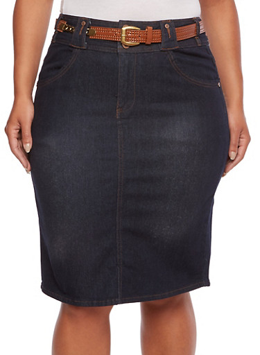 Plus Size Denim Midi Skirt with Removable Perforated Belt,DARK WASH,large