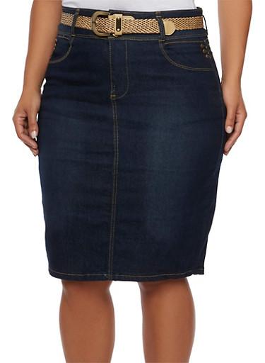 Plus Size Denim Midi Skirt with Removable Belt,DARK WASH,large