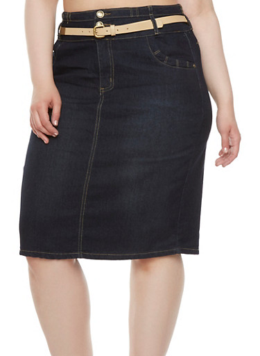 Plus Size Denim Skirt with Faux Leather and Chain Belt,DARK WASH,large