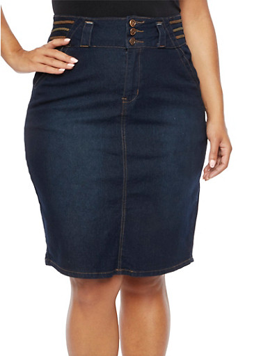 Plus Size High Waisted Denim Midi Skirt with Faux Suede Braid Accents,DARK WASH,large