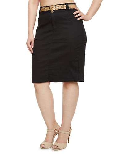 Plus Size Stretch Pencil Skirt with Belt,BLACK,large