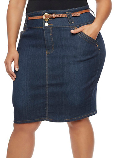 Plus Size Belted Denim Pencil Skirt at Rainbow Shops in Daytona Beach, FL | Tuggl
