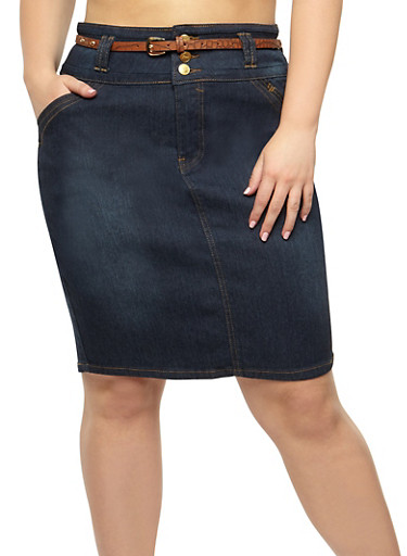 Plus Size Belted Denim Pencil Skirt,DENIM,large