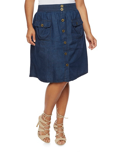 Plus Size Chambray Skirt with Front Patch Pockets,DENIM,large