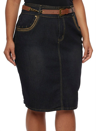 Plus Size Denim Midi Skirt with Perforated Belt,DARK WASH,large