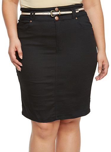 Plus Size Twill Pencil Skirt with Belt,BLACK,large