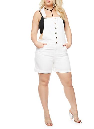 Plus Size White Denim Short Overalls,WHITE,large