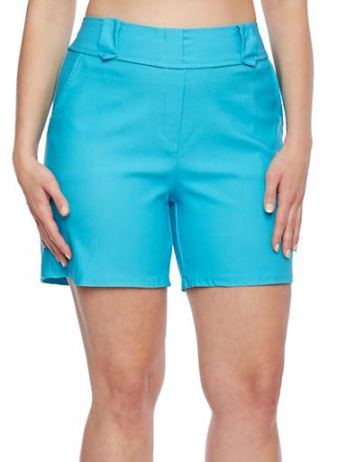 Plus Size Solid Shorts,TURQUOISE,large
