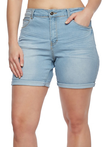 Plus Size Whisker-Wash Denim Shorts with Five Pockets,LIGHT WASH/BLEACH,large