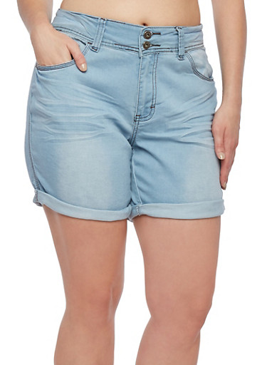 Plus Size Denim Shorts with Rolled Cuffs,LIGHT WASH/BLEACH,large