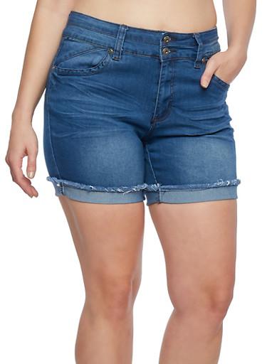 Plus Size Denim Cutoff Shorts,MEDIUM WASH,large