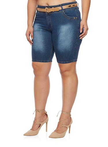 Plus Size Denim Bermuda Shorts with Belt,DENIM,large