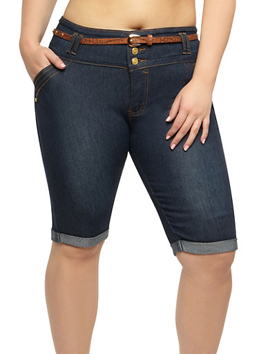 Plus Size Belted Denim Bermuda Shorts,DENIM,large