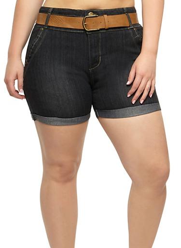 Plus Size Belted Denim Bermuda Shorts,DARK WASH,large