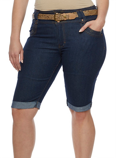 Plus Size Belted Denim Bermuda Shorts,DENIM,large