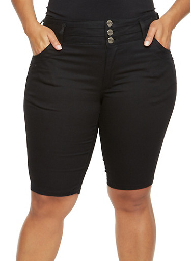 Plus Size Bermuda Shorts with Three Button Waist,BLACK,large