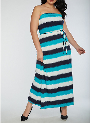 Plus Size Strapless Maxi Dress,JADE,large