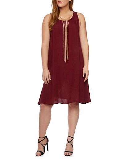Plus Size Shift Dress with Removable Necklace,MERLOT,large
