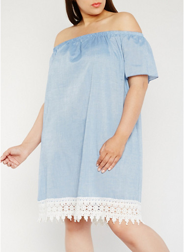 Plus Size Chambray Off the Shoulder Dress with Crochet Trim,LT BLUE,large