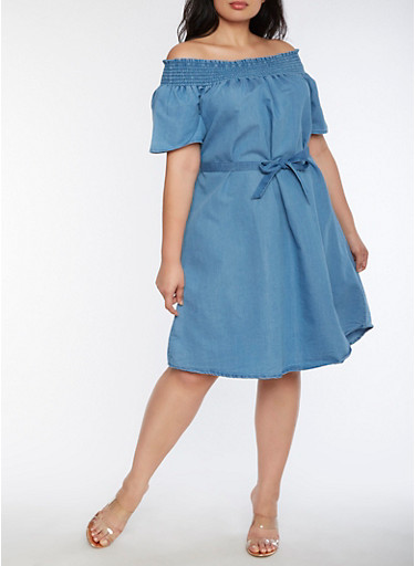 Plus Size Smocked Off the Shoulder Denim Dress,BLUE,large