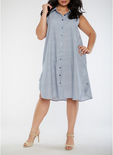 Plus Size Striped Sleeveless Dress,BLUE,large