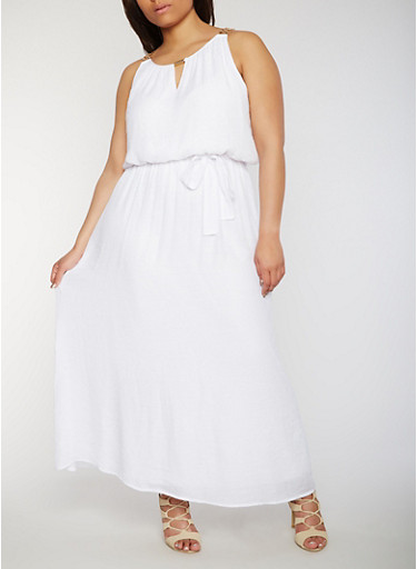 Plus Size Gauzy Maxi Dress with Chain Accent,WHITE,large