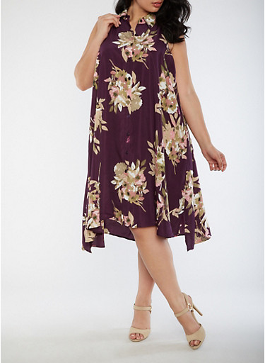 Plus Size Sleeveless Floral Dress,PLUM,large
