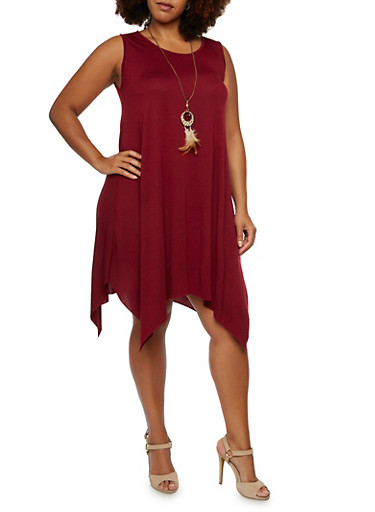 Plus Size Jersey Dress with Handkerchief Hem and Removable Necklace,BURGUNDY,large