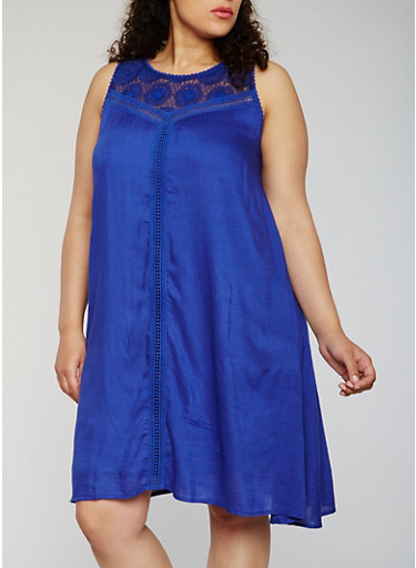 Plus Size Sleeveless Dress with Crochet Insert,ROYAL,large