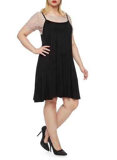 Plus Size Layered Tank Dress with Lace Top,BLK/KHAKI,large