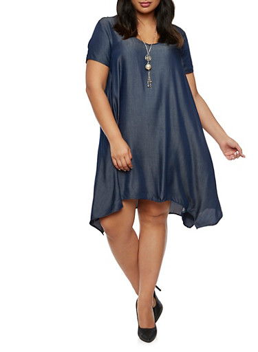 Plus Size Chambray Swing Dress with Necklace,NAVY,large