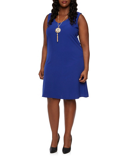 Plus Size Midi Shift Dress with Removable Necklace,ROYAL,large