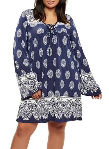 Plus Size Paisley Print Midi Dress,NAVY,large